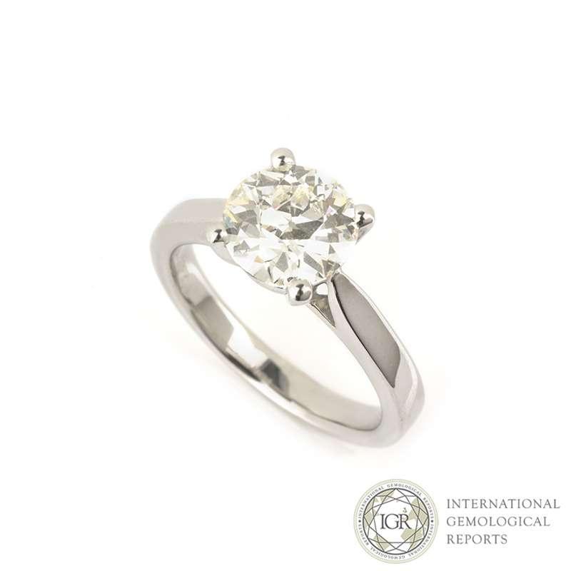 Round Brilliant Cut Diamond Ring in Platinum 2.01ct I/VVS2